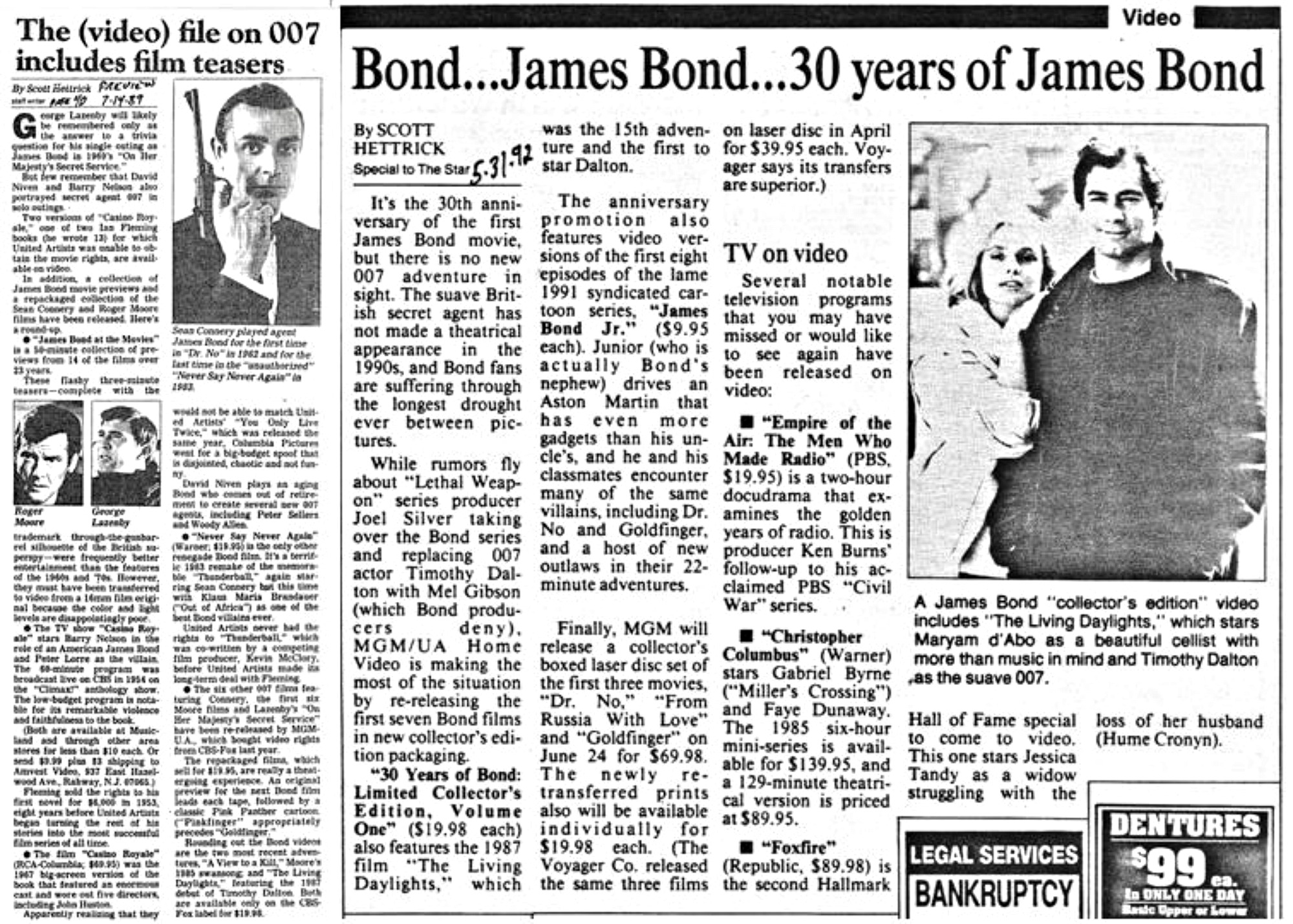 a7d6cd2a24 My home video columns in Kansas City Star in 1989 about the slew of  unofficial Bond movies and programs, and in 1992 reflecting the creative  efforts by ...