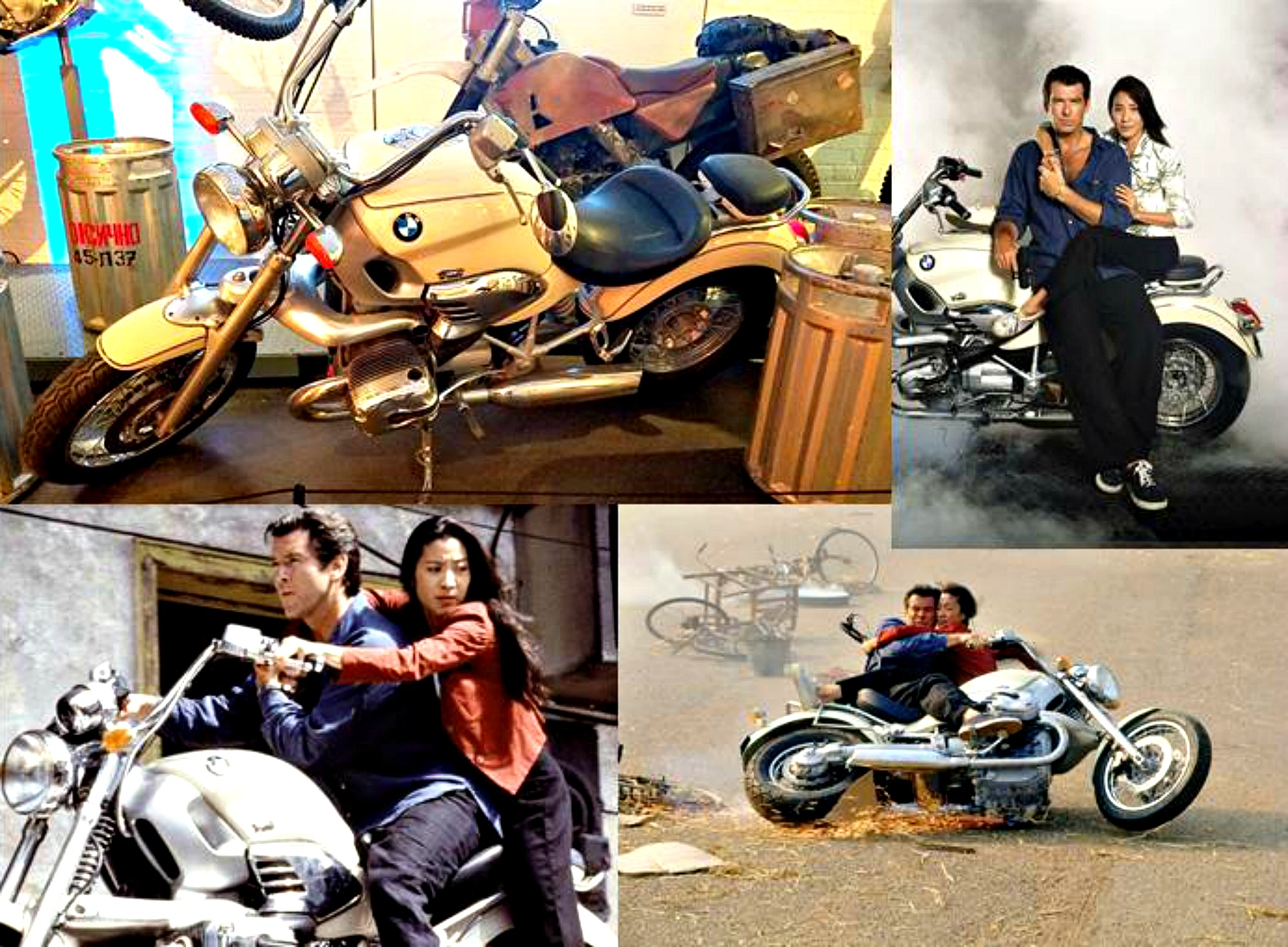 """7d02b10cde Impressive to see up close that cool huge BMW motorcycle that Bond/Brosnan  and Michelle Yeoh drove together while handcuffed in """"Tomorrow Never Dies""""  on ..."""